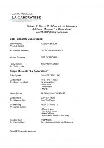 Programma Concerto Primavera 2012