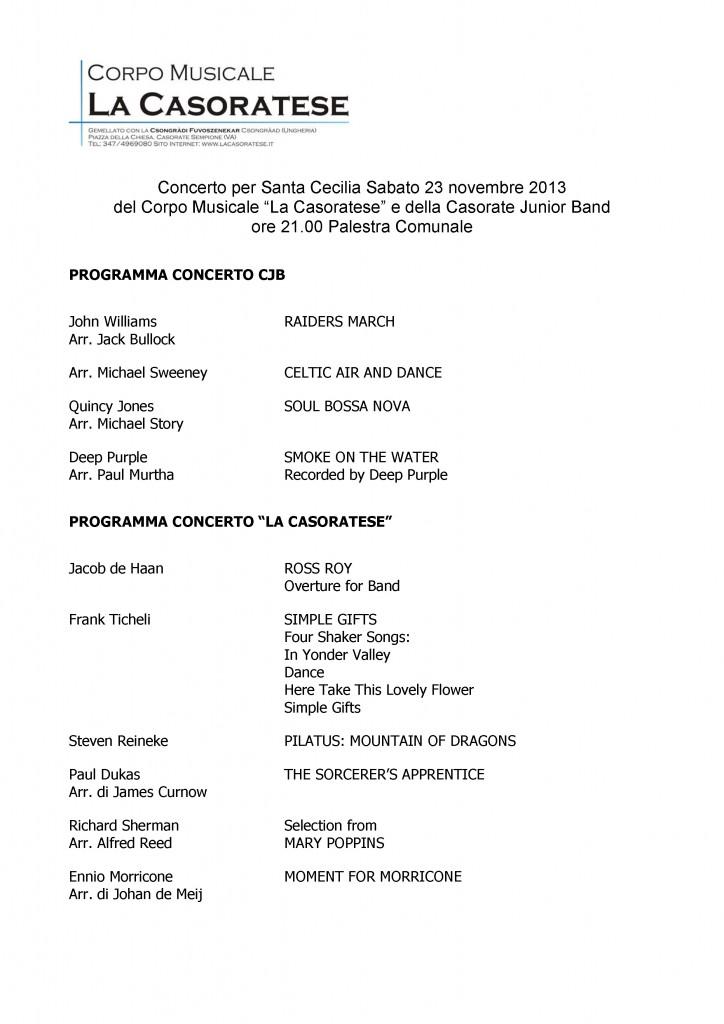 Programma S Cecilia 2013