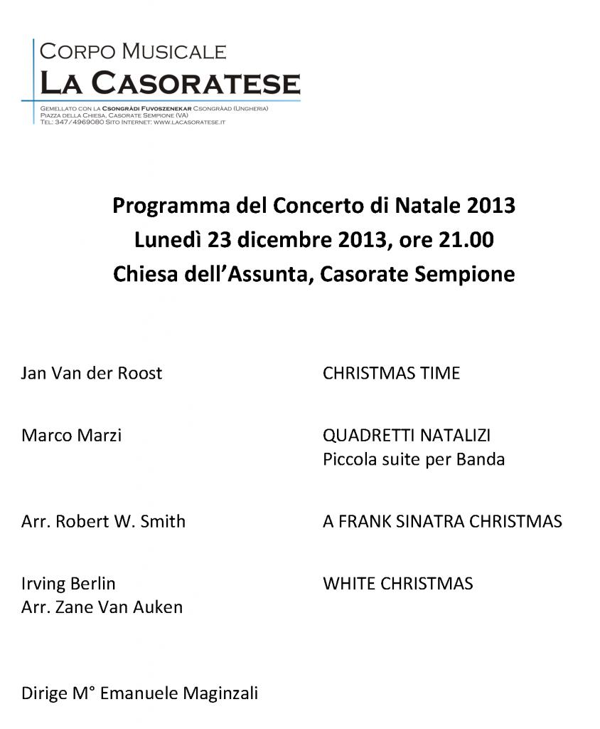 Programma concerto NATALE 2013