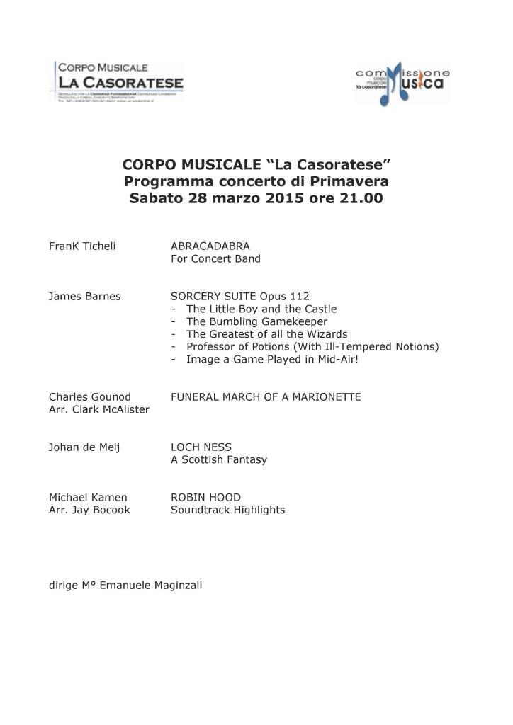 Programma del Concerto di Primavera 2015